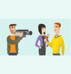Tv interview cartoon vector