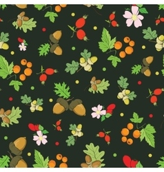 Vintage fall berries nuts on dark green vector