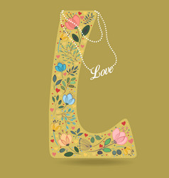 yellow letter l with floral decor and necklace vector image vector image