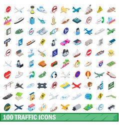 100 traffic icons set isometric 3d style vector