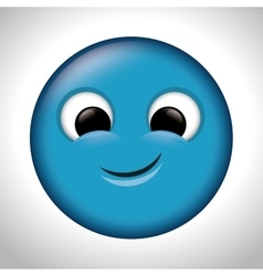 Blue emoticon happy design vector