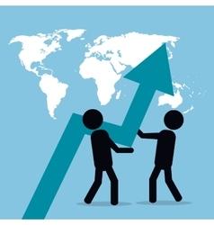 men business pushing arrow growth globe vector image