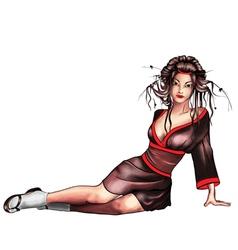 Geisha sitting vector