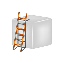 grey cube and wooden ladder vector image
