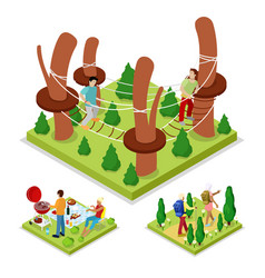 Isometric outdoor activity rope park and barbeque vector