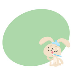 sick rabbit having flu sitting with ice pack vector image