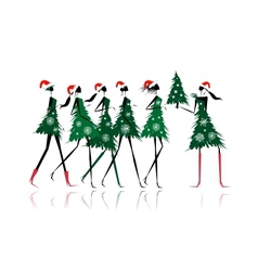 Christmas tree girls for your design vector image
