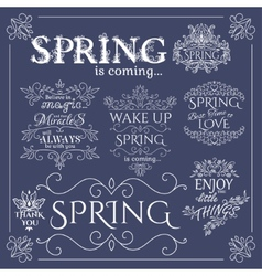 Set of headlines with spring quotes vector