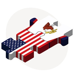 Usa and american samoa flags in puzzle vector