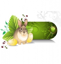 Banner with an easter rabbit vector