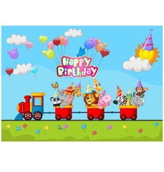 Birthday background with animal on train vector