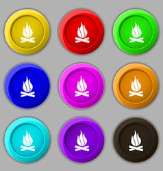 A fire icon sign symbol on nine round colourful vector
