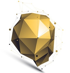 Gold 3d abstract design object polygonal vector