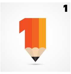 Creative pencil symbol and number one sign vector