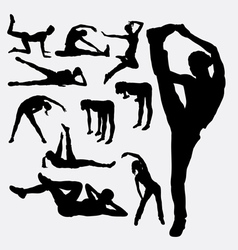 Woman aerobic dance fitness sport silhouettes vector