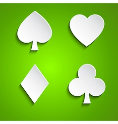 Symbol set of playing cards on green background vector