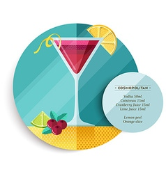 Cosmopolitan cocktail drink recipe for party vector