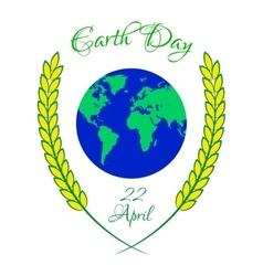 Earth day with planet and wheat ears vector