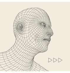 Head of the person from a 3d grid human head vector
