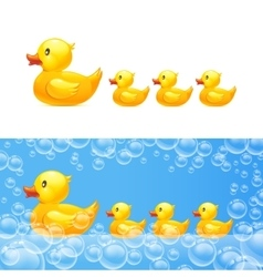 Rubber duck with ducklings vector