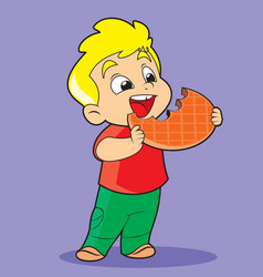 boy with cookies vector image
