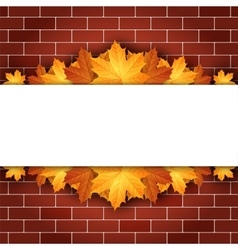 Autumn background with maple leaves on brick wall vector