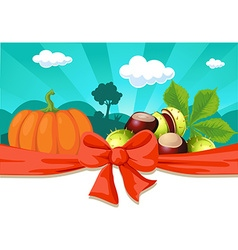 Autumn still life with pumpkin and chestnuts - vector image vector image