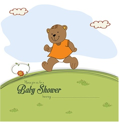 Baby shower card with teddy bear chasing rushed to vector