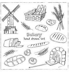 bread hand drawn set vector image vector image