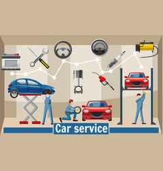 Car service tools concept cartoon style vector