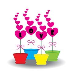 Card heart in pots vector