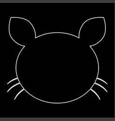 Cat head the white path icon vector