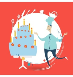 chef decorate a cake vector image vector image