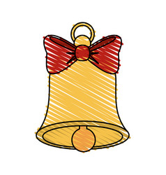 Color crayon stripe image bell with red bow ribbon vector