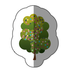 color sticker beautiful tree icon vector image vector image