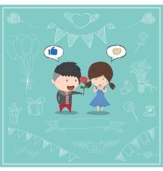 Cute cartoon boy give rose girl card vector