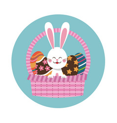 easter bunny in basket egg decoration vector image