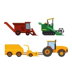 Equipment farm for agriculture machinery harvester vector image