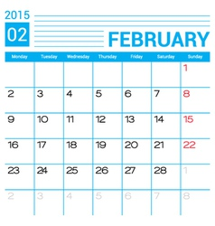 February 2015 calendar page template vector image vector image