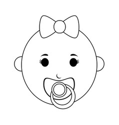 Female baby with pacifier icon image vector