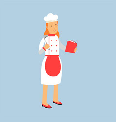 Female chef cook character in uniform standing and vector