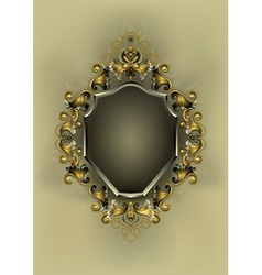 Frame with gold and silver decor vector
