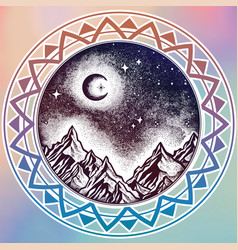 hand drawn nature night sky mountains landscape vector image