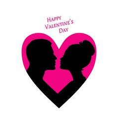 Happy Valentines day couple silhouette image vector image vector image