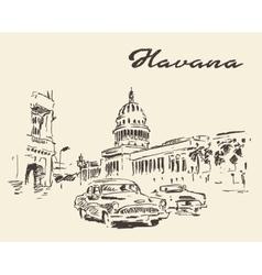 Havana old cars vintage drawn sketch vector