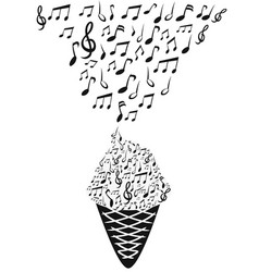 Ice cream with music notes vector