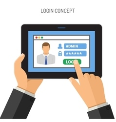 Login concept on tablet pc vector