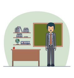 man teacher in formal suit on classroom with vector image vector image