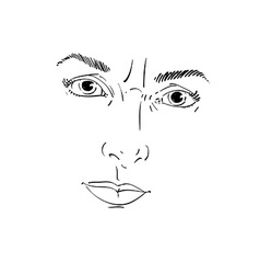 Monochrome hand-drawn portrait of white-skin vector image