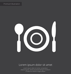 restaurant premium icon white on dark background vector image vector image